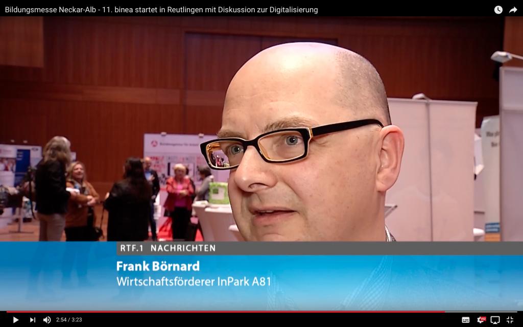 Frank Börnard vom InPark A81 spricht im Regionalfernsehen RTF1.