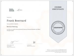 Certificate Serious Gaming